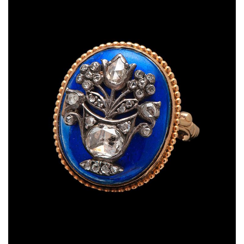 Victorian Enamel and Diamond Ring