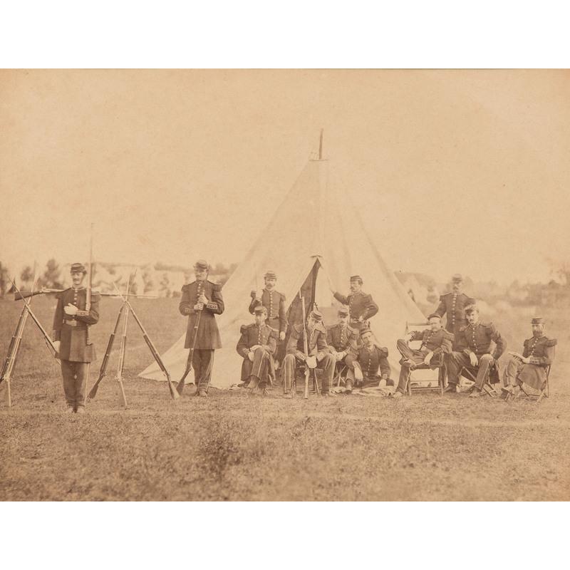 Civil War Albumen Photograph of the Guard Tent at Saratoga, 1863