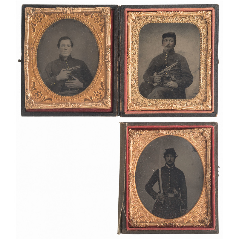 Three Sixth Plate Tintypes of Soldiers Armed with Pistols and Sword, One Displaying a Rare Bacon Percussion Revolver