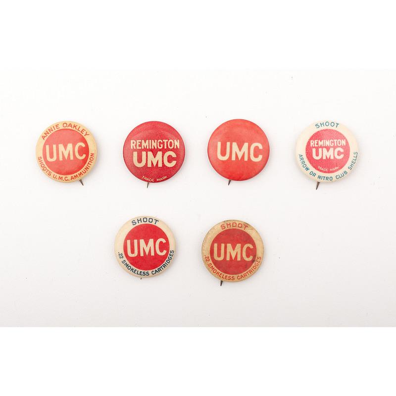 Set of UMC Advertising Pinbacks Including Rare Annie Oakley Edition