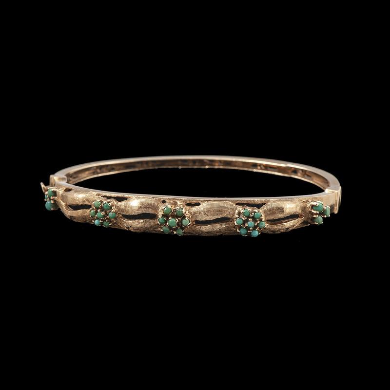 Jack Gutschneider 14k Gold Turquoise Bracelet