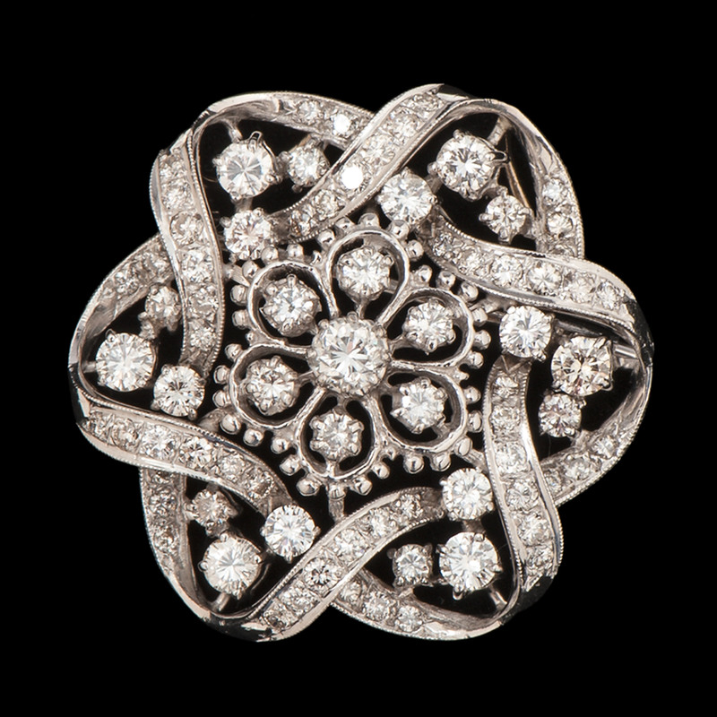 18k White Gold Diamond Brooch/Pendant