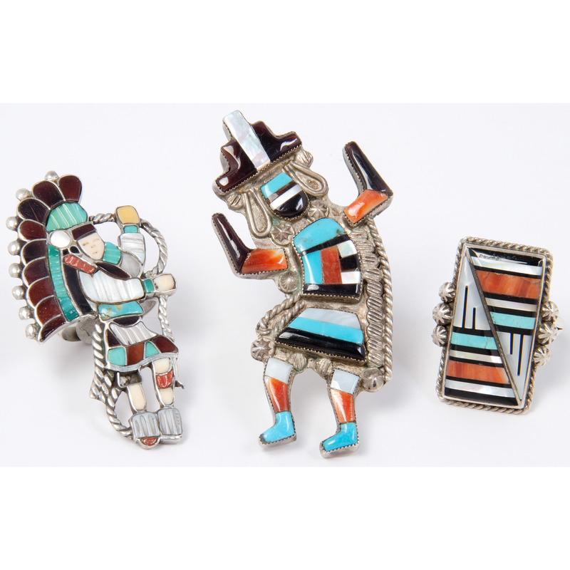 Julalita Lamy (Zuni, 1928-1991) Mosaic Inlay Rainbow Man Ring PLUS