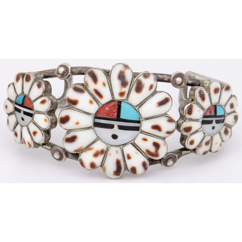 Morris and Sadie Laahte (Zuni, d.1987) Mosaic Inlay Sunface Cuff Bracelet