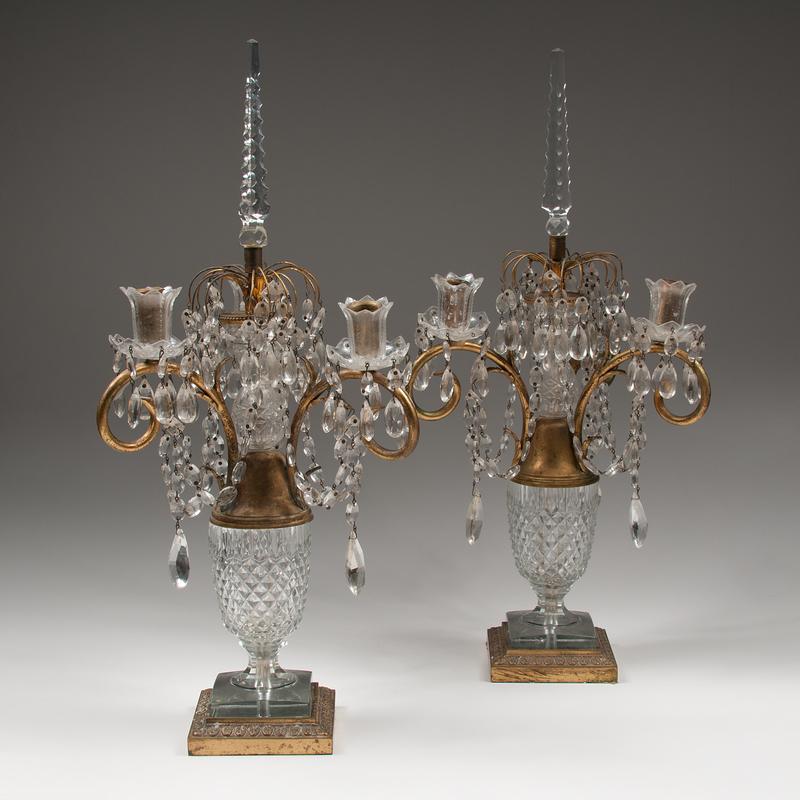 Pair Cut Glass Candelabras