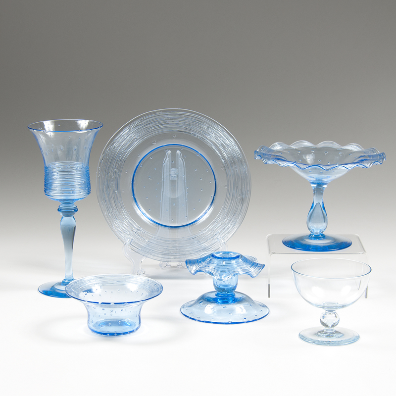 Blue Bubble Threaded Glasswares, Plus