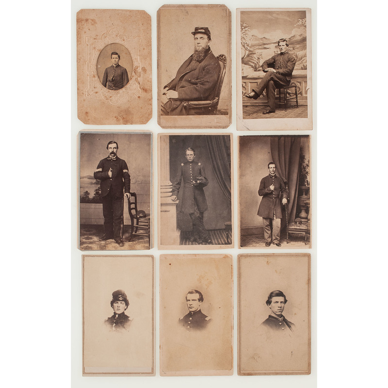 Nine Civil War CDVs of New England Soldiers, Incl. NY, NJ, and RI Studio Imprints