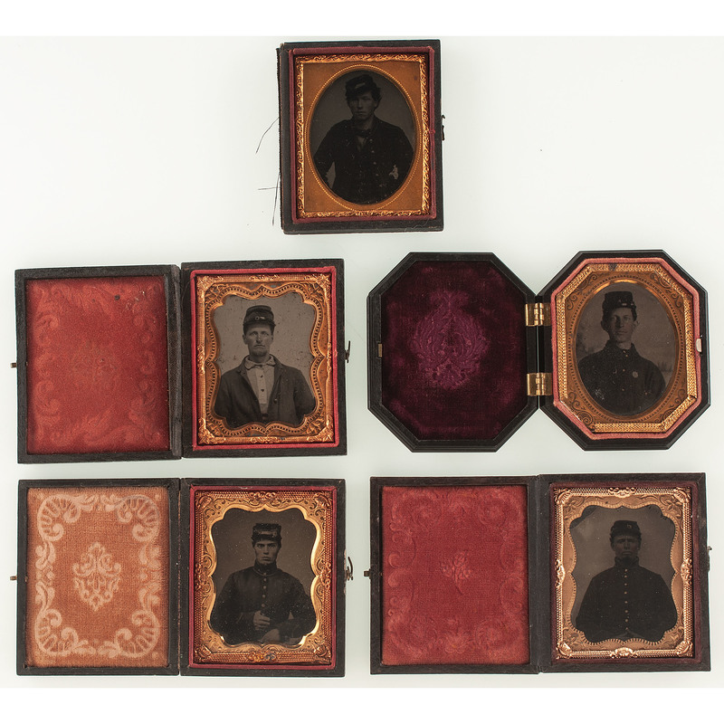 Five Ninth Plate Tintypes of Civil War Soldiers Wearing Kepis and Other Military Caps