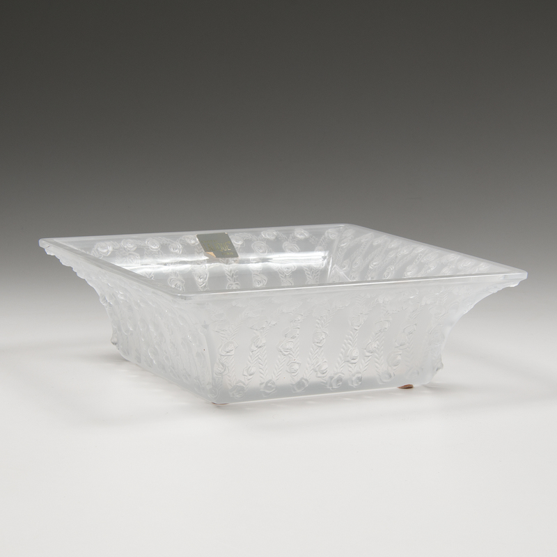 Lalique Square Bowl, Roses