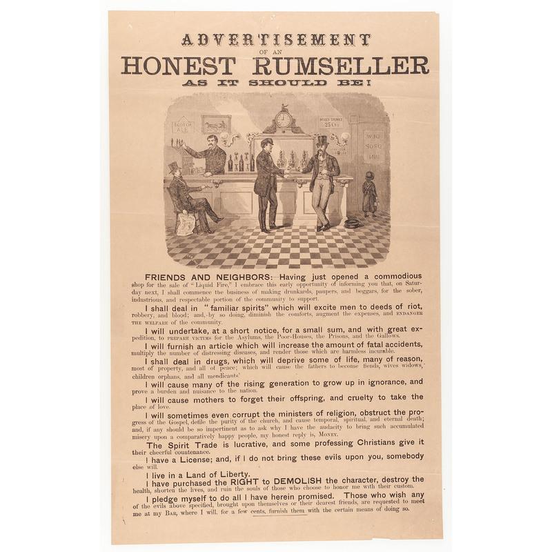 Ca 1900 Temperance Broadside, Advertisement of an Honest Rumseller
