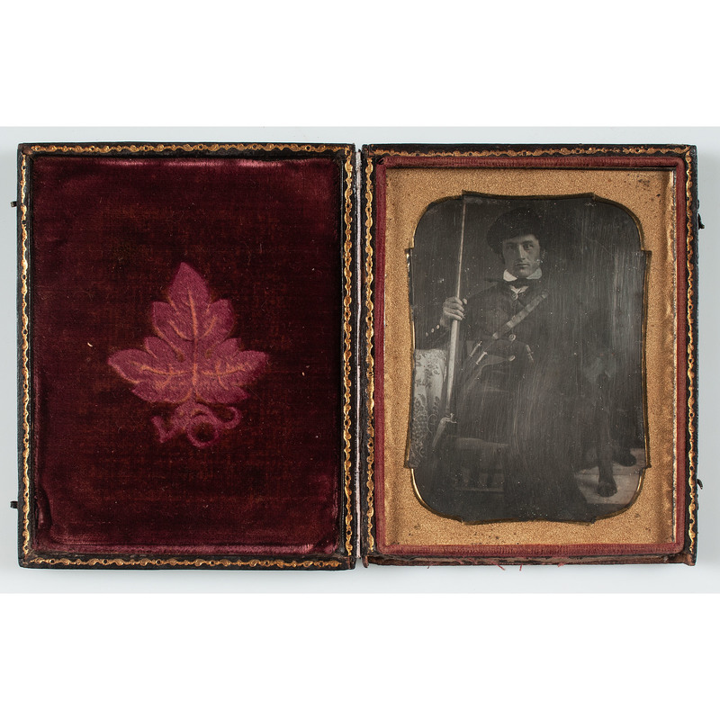Quarter Plate Daguerreotype of Hunter Armed with Shotgun and Two Knives
