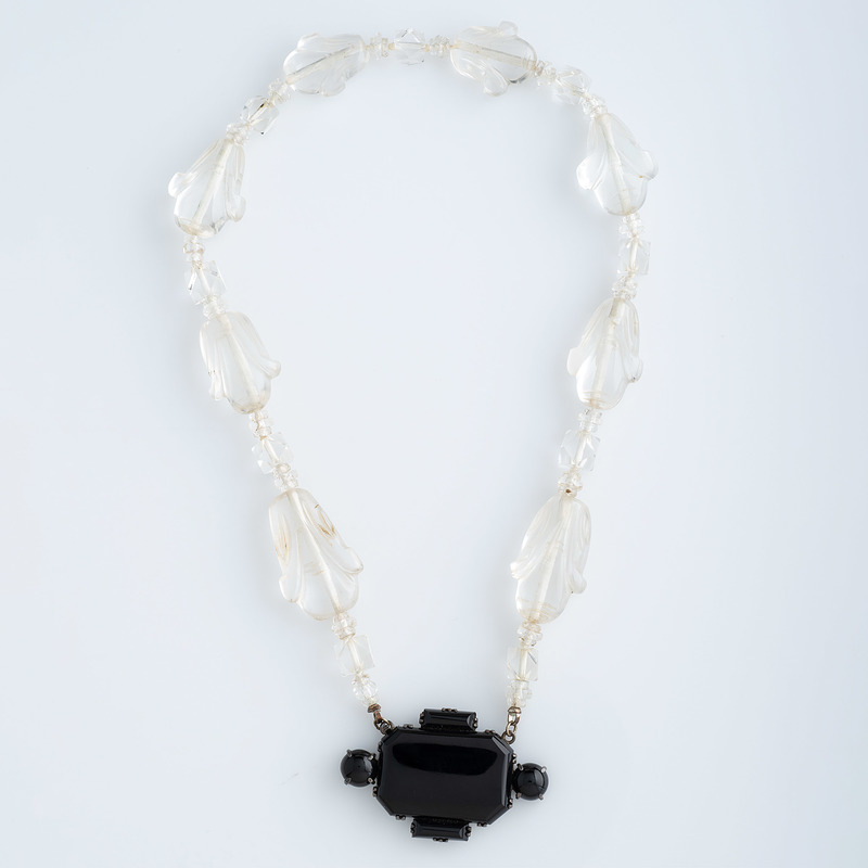 German Art Deco Rock Crystal and Black Onyx Necklace