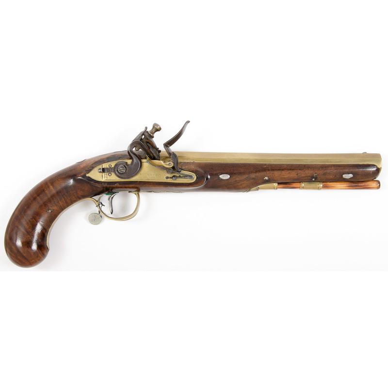 English Brass Barreled Flintlock Holster Pistol by Ryan & Watson