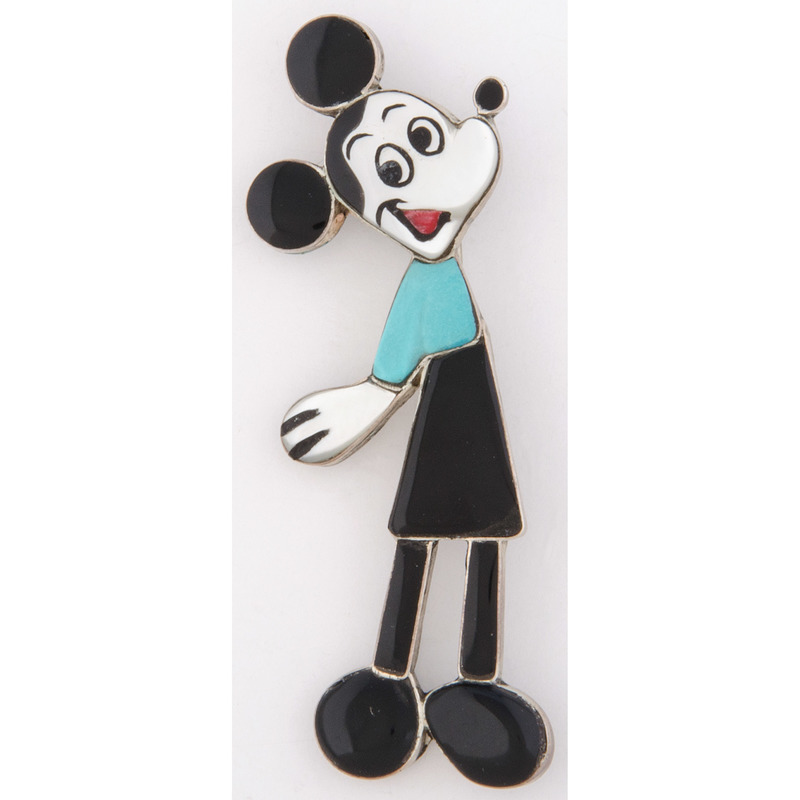 Zuni Silver Inlay Mickey Mouse Pin / Pendant