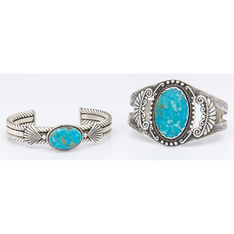 Southwestern Sterling Silver and Turquoise Cuff Bracelets