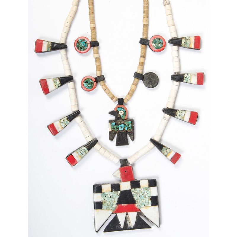 "Kewa ""Depression Era"" Thunderbird Necklaces, Exhibited: Thunderbird Jewelry of Santo Domingo Pueblo (5/15/2011 - 4/29/2012), Wheelwright Museum, Santa Fe"