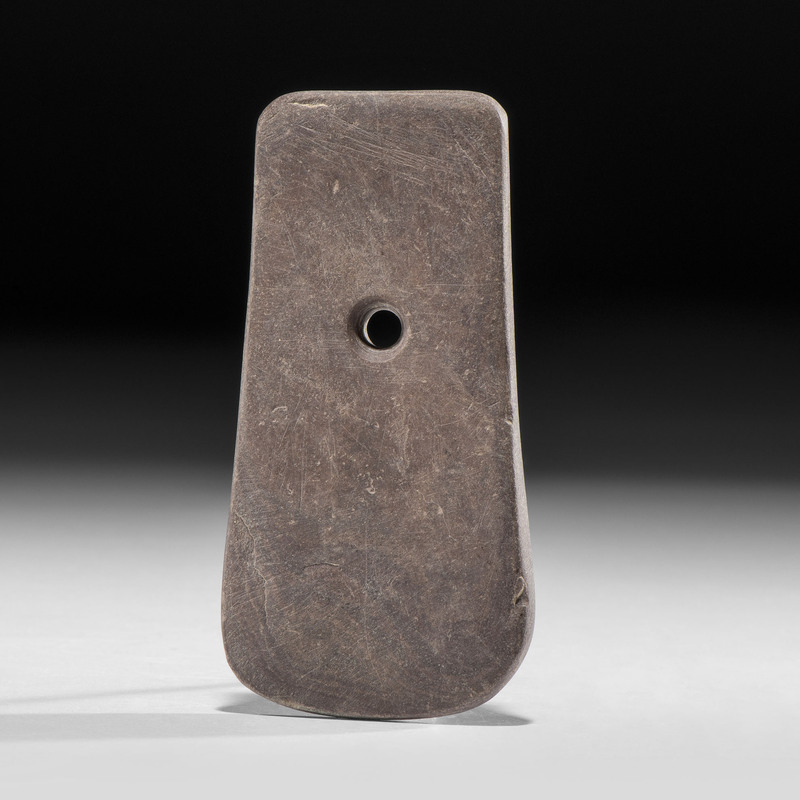 An Adena Slate Keyhole Pendant, 4 in.