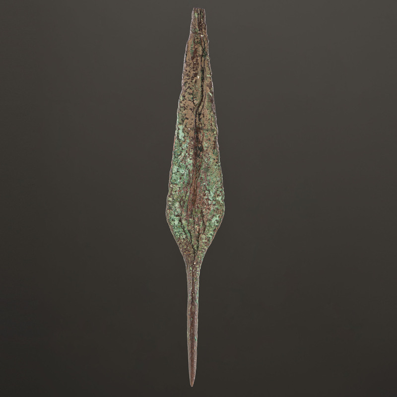 An Old Copper Culture Rat Tail Spear Point, 8-1/2 in.