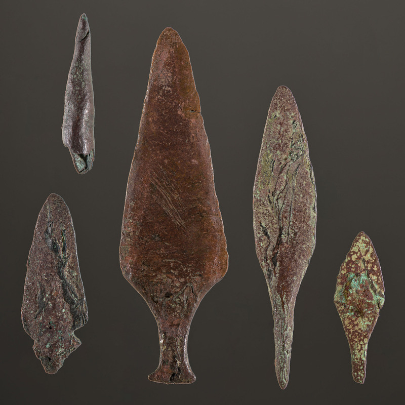 A Collection of Old Copper Culture Spear Points, Longest 4-1/2 in.