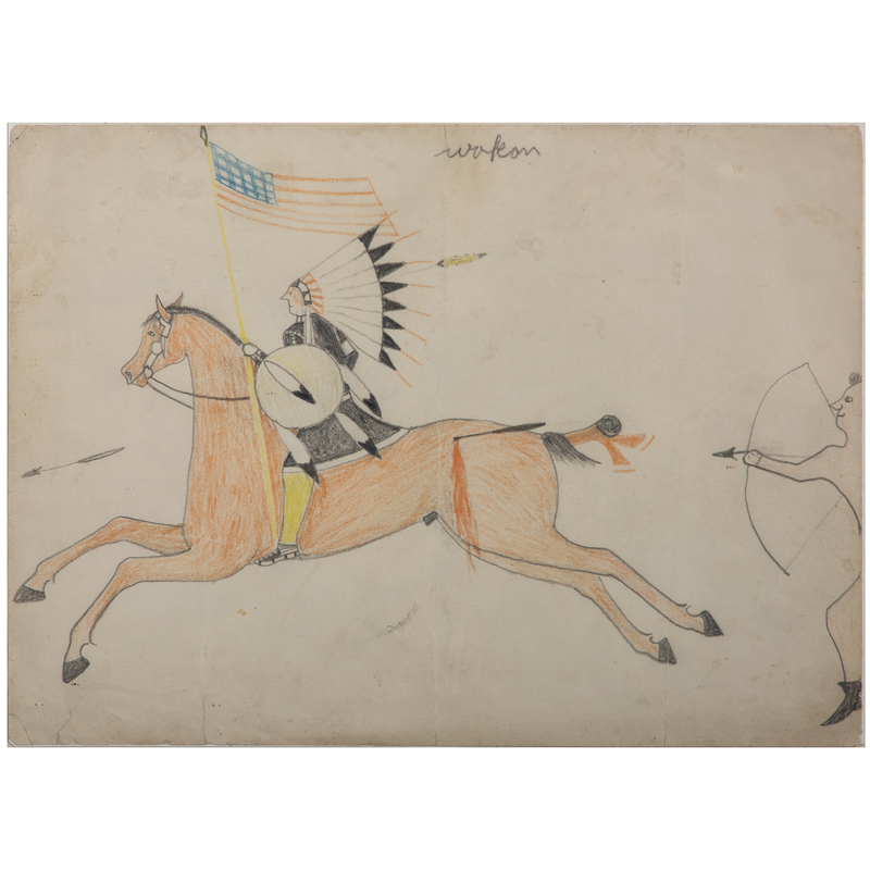 Attributed to Goes-To-War (Brule Lakota, 19th century), Colored Pencil on...