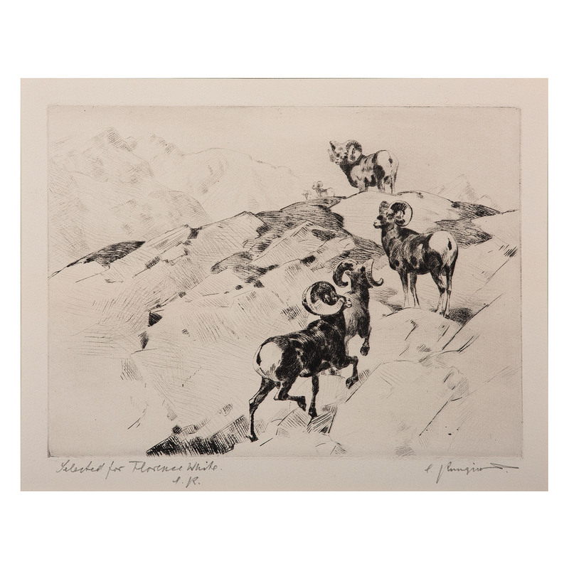 Carl Rungius (German, 1869-1959) Drypoint Etching, From the James B. Scoville Collection