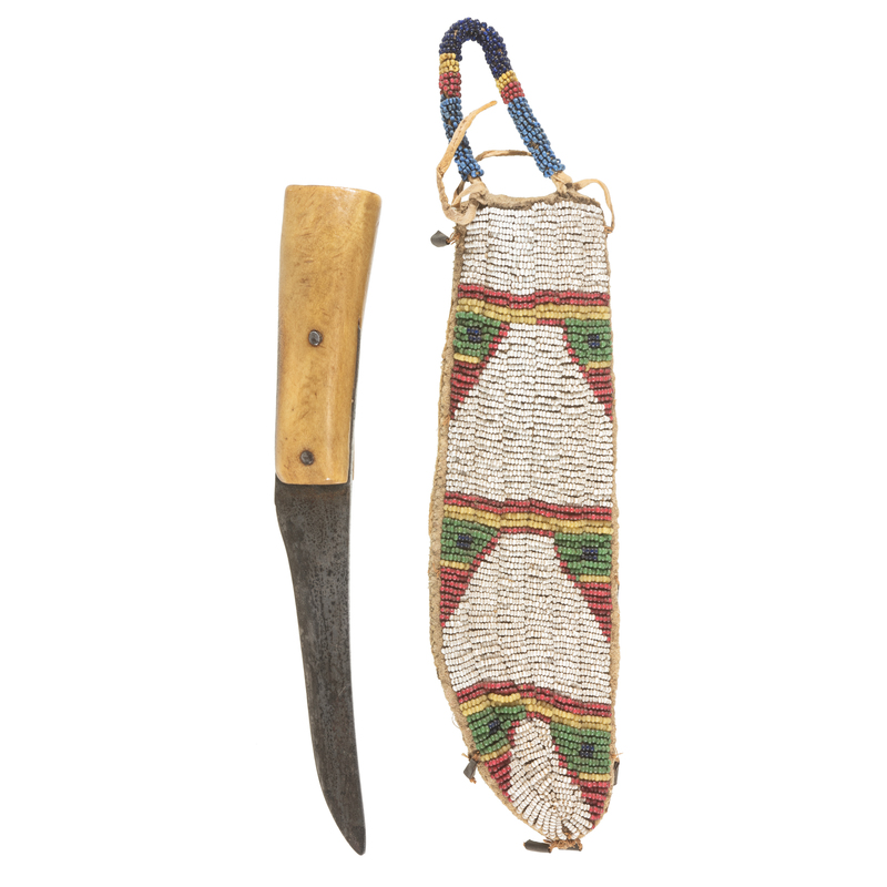 Sioux Beaded Hide Knife Sheath with W. Greaves and Sons Knife, From the James B. Scoville Collection