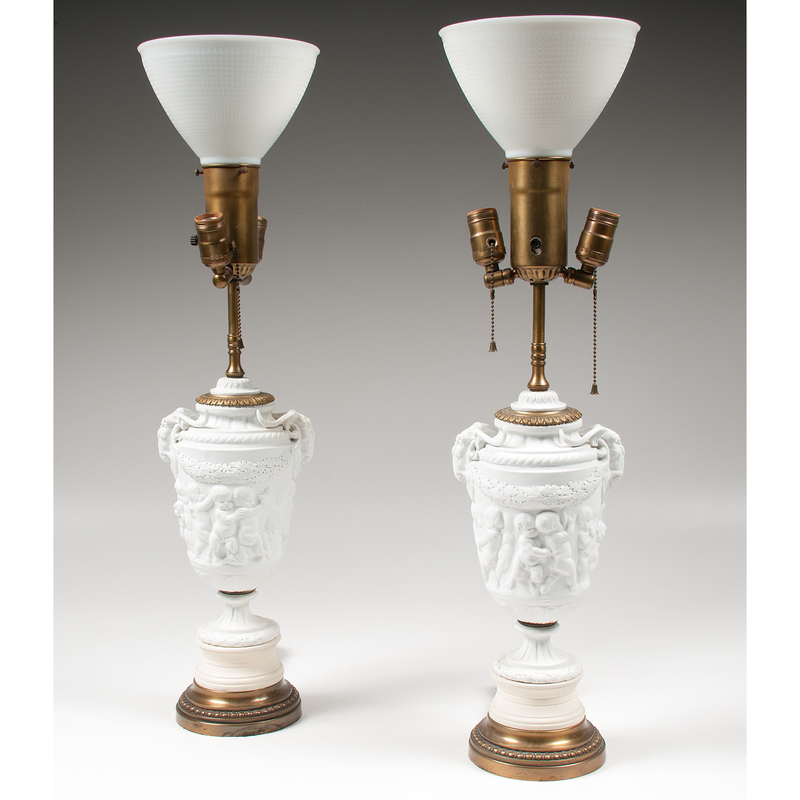 Pair Parian Ware Lamps
