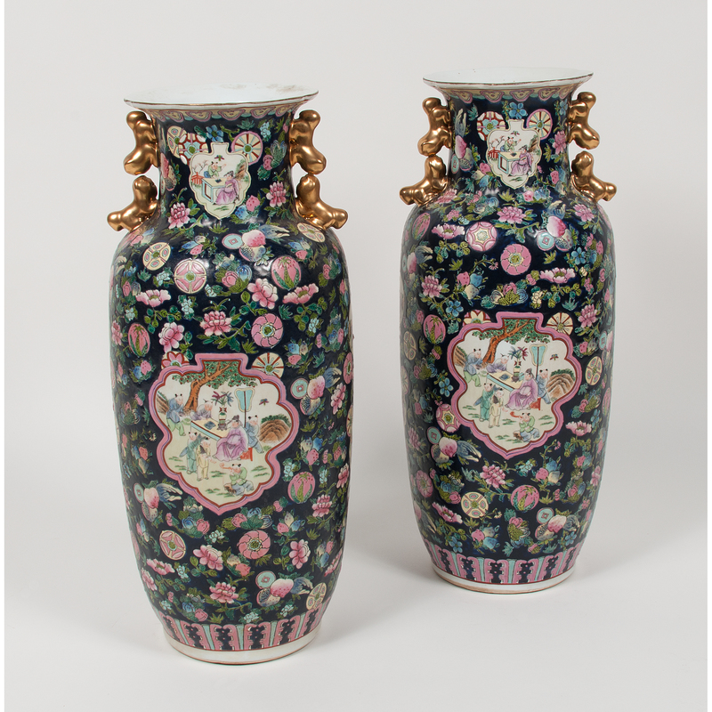 Chinese Dark Blue Ground Famille Rose Vases