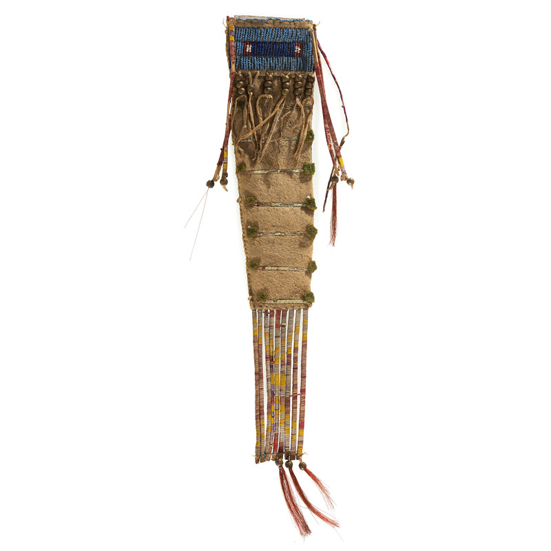 Sioux Beaded and Quilled Buffalo Hide Knife Sheath, From the James B. Scoville Collection