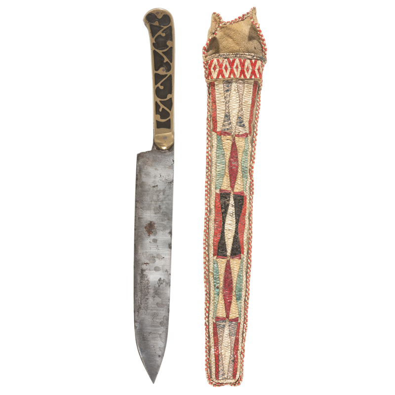 Great Lakes Quilled Hide Knife Sheath with Cartouche Knife, From the James B. Scoville Collection