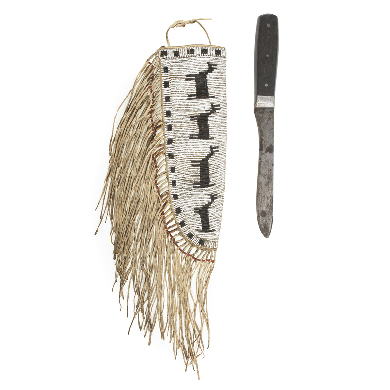 An Early Plains Pictorial Beaded Knife Sheath with Knife, From the James B. Scoville Collection