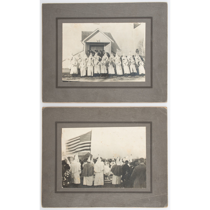 Two Mounted Photographs of a Ku Klux Klan Funeral in Fostoria, Ohio