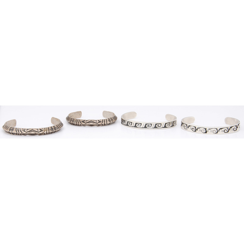 Stamped and Silver Overlay Cuff Bracelets