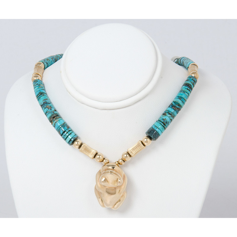 LeRoy Jewelers Turquoise and 14k Gold Cast of Leekya Frog Fetish Necklce
