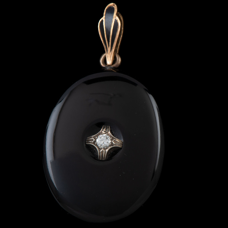 Black Onyx and Diamond Locket