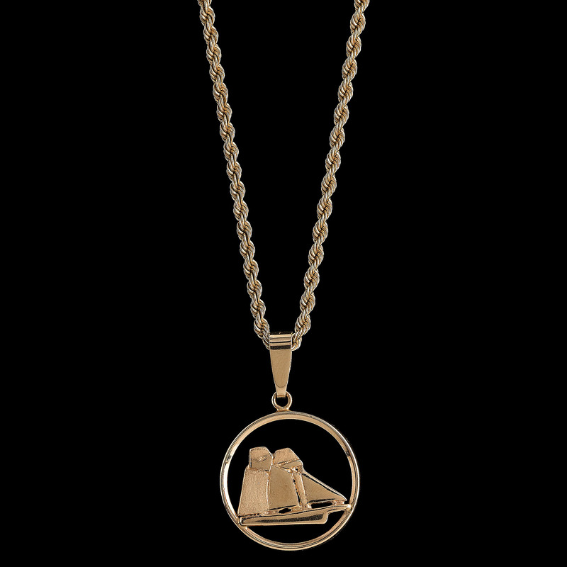 14k Gold Sailboat Pendant Necklace