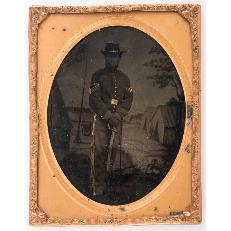 Civil War Quarter Plate Tintype of Armed Cavalry Sergeant