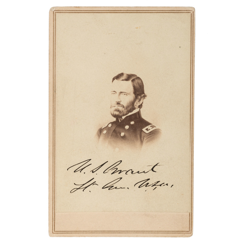 Ulysses S. Grant CDV, Signed with Rank
