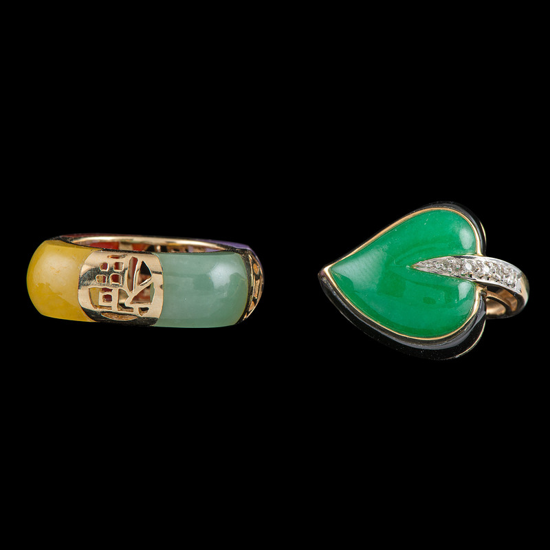 14K Gold Jade Rings, Lot of Two