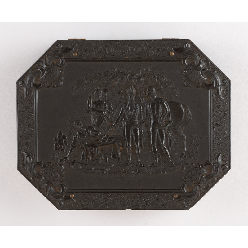 Very Rare Quarter Plate Union Case, General Marion's Invitation to Dinner, with Geometric Pattern on Reverse [Berg 1-24]