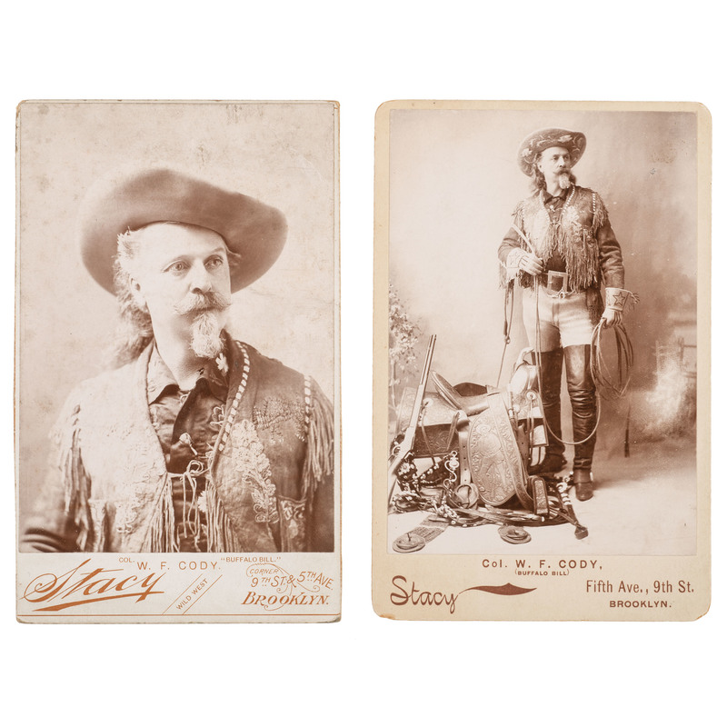 Buffalo Bill Cody, Two Cabinet Cards by Stacy