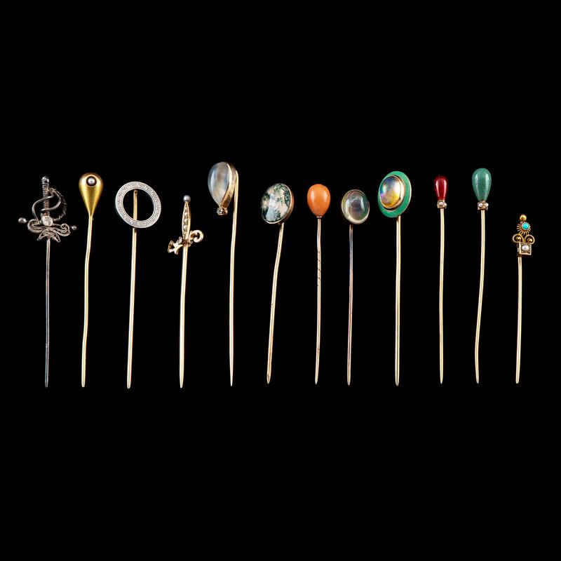 Gold Stickpins PLUS, Lot of 12