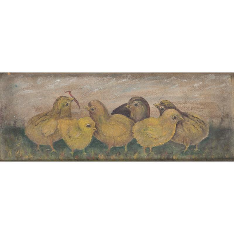 Folk Art Painting of Chicks