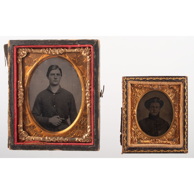 Lot of Five Tintypes Showing Soldiers, Bands, and Cadets