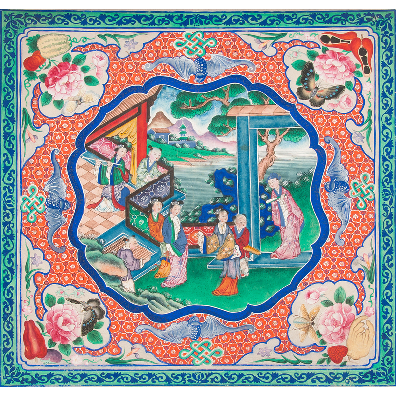 Chinese Watercolor in Lacquered Case