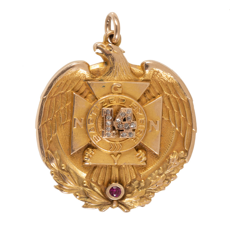 14K Gold and Diamond 25th Anniversary Presentation Medal Inscribed to Spanish American War Lt. Colonel William Lewis Garcia, 14th Regiment, National Guard