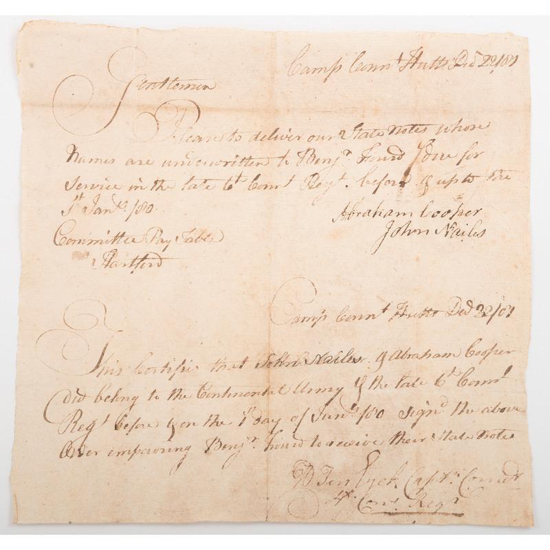 Revolutionary War-Era Handwritten Notices from Camp Connecticut Village, 1781