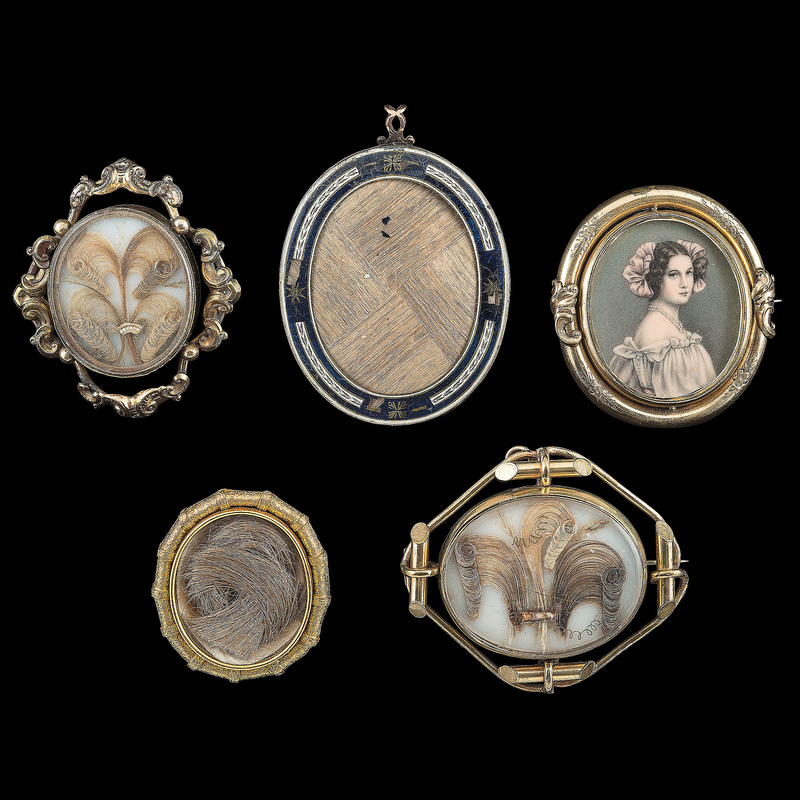 Mourning Jewelry, Lot of Five