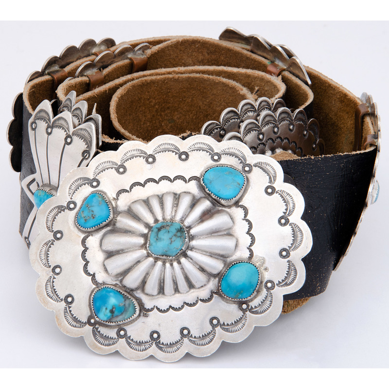 Jimmy Herald (Dine, 20th century) Navajo Sterling Silver and Turquoise Concha Belt