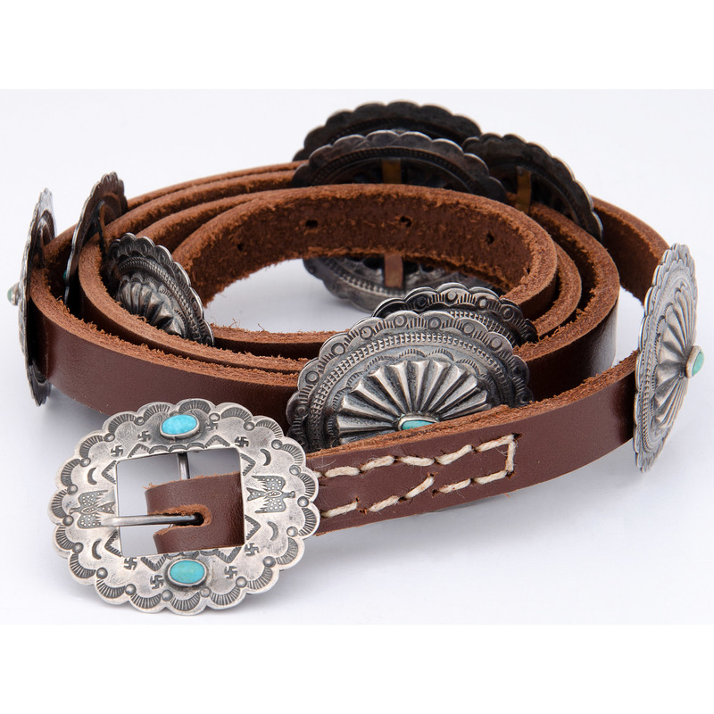 Navajo Silver and Turquoise Concha Belt, with Whirling Logs and Thunderbirds